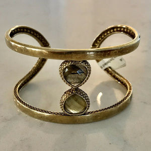 CORALIA LEETS Gold Cuff Braided Two Green Stones